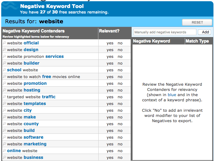 Wordstream Negative Keyword Tool